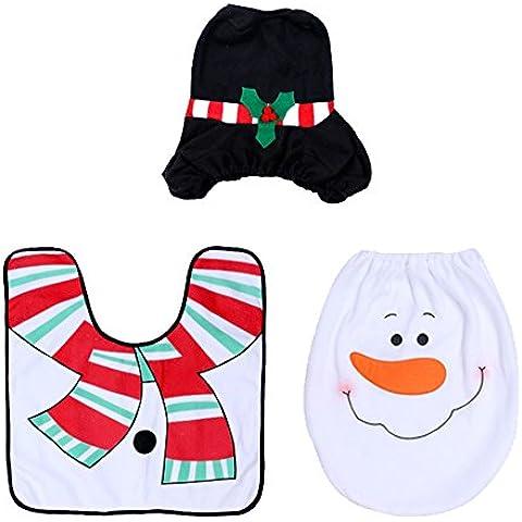 Aseo decorativo de la Navidad Set - 3pcs Happy Holiday espíritu de la Navidad del asiento de tocador cubierta Alfombra de baño Set Juegos de WC / Creatividad / caliente diseño decorativo de Navidad Conjuntos de WC,Monigote de nieve