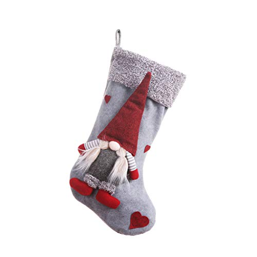 Kreative Zusammen Kostüm - WOBANG Weihnachts deko,Christmas Weihnachten kreative Weihnachtsbaum Weihnachtsschmuck dreidimensionale gesichtslose Figur Weihnachtsstrümpfe Bonbontüte Geschenktüte (Grau)
