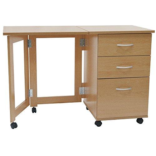 FLIPP - Schreibtisch Computertisch und Arbeitsplatz mit Klapptisch - Buche