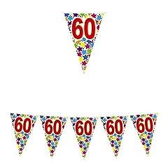 Idea Regalo - Big Party- Festoni di Bandierine con Numero 60, Multicolore, 60098