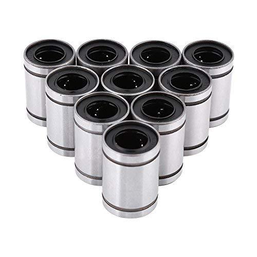 Akozon Lineargleitlager Linear Motion Bearing,10 Stück LM12UU 12 mm Linear Motion Kugellager Buchse Lange Linearkugellager für 12 mm Rod für lineare Bewegung auf 3D-Drucker, CNC und andere Anwendungen -