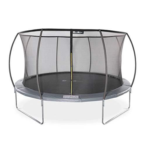 Trampoline Rond Ø 430cm Gris avec Filet de Protection intérieur - Venus Inner - Nouveau modèle - Trampoline de Jardin 4,30m 430 cm |Design | Qualité Pro. | Normes EU.