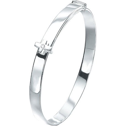 Silver D For Diamond Adjustable Cross Baby Bangle - Christening Gift