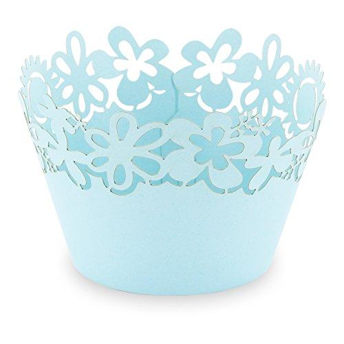 """Elfenstall Cupcake / Muffin Papierförmchen - Zierumrandung - Dekorand \"""" Blumen / Sonnenblume / Flowers \"""" 12 Stück für Geburtstage Hochzeiten Kommunion Konfirmationen Ostern Partys oder Feste (türkis)"""