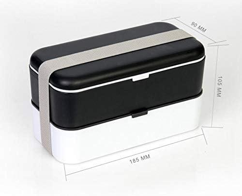 Mode Mode Mode mignon Boîte à lunch japonaise double couche PP (noir et blanc) B07L7MKQCB 5ff24b