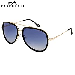 Farenheit UV Protected Aviator Unisex Sunglasses - (SOC-FA-2344-C1 57 Blue Color Lens)