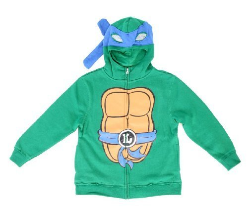 Teenage Mutant Ninja Turtles Leonardo Jungen Kostüm Zip Up Hoodie Sweatshirt (Jungen 10/12) (Ninja Turtle Jungen Kostüme)