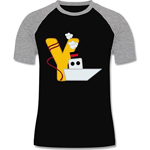 Anfangsbuchstaben - Y Schifffahrt - zweifarbiges Baseballshirt für Männer Schwarz/Grau Meliert