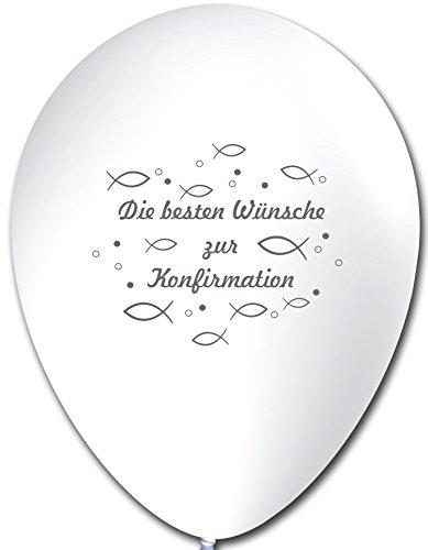 Unbekannt 10 Luftballons Alles Gute zur Konfirmation, WEIß, ca. 30 cm Durchmesser