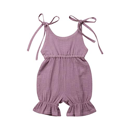 Shawnlen Kleinkind Baby Mädchen Strap String Overall Sommer Feste Bodys Farbe Baumwolle Shorts Outfits für 0,5-4 Jahre (0-6 Monate, lila) Overall-shorts-outfit