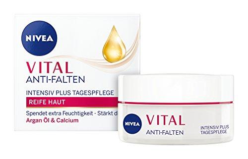 NIVEA Vital Anti-Falten Intensiv Plus Reichhaltige Tagespflege im 1er Pack (1 x 50 ml), Tagescreme mit Argan-Öl und Calcium, Anti Aging Feuchtigkeitscreme für gestärkte Haut