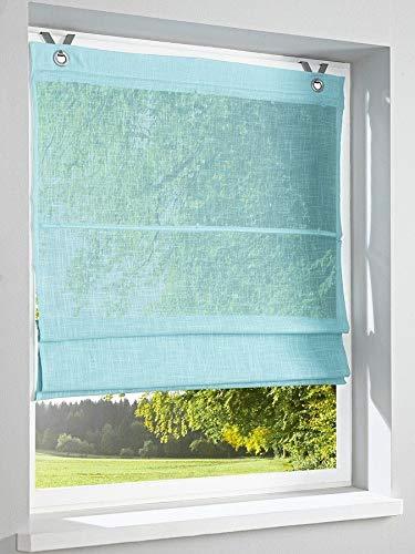 Heine home - tenda a pacchetto a tinta unita, effetto lino, con ganci e occhielli, 140 x 60 cm