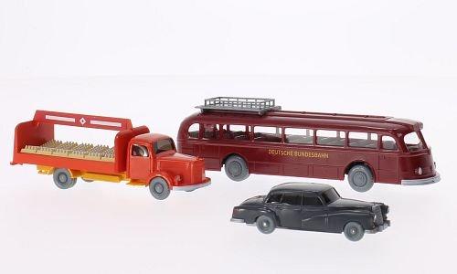 Set WIKING-VERKEHRS-MODELLE Nr.9: Mercedes 300, L 3500 Getränkepritsche und O 6600 H,, Modellauto, Fertigmodell, Wiking / PMS 1:87