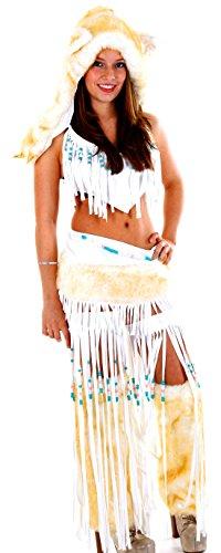 Kostüm- Goldglanz Fell Indianer Wolf Plüsch Kostüm Kapuze, weiß gold, 34-38 (Tiger Dance Kostüme)