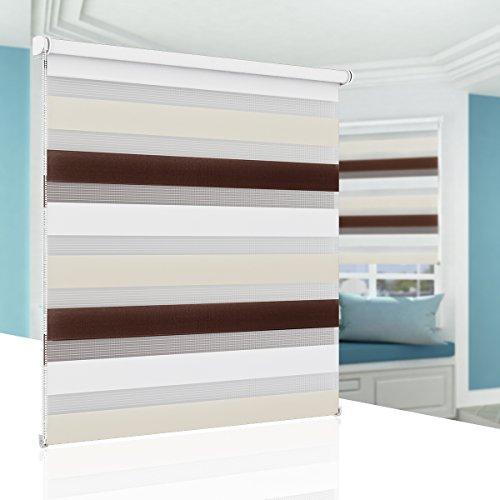 Doppelrollo Klemmfix, Duo Rollo ohne Bohren, 40 cm x 150 cm (B x L) Weiss Creme Braun, fensterrollos für innen, Fenster, Türen