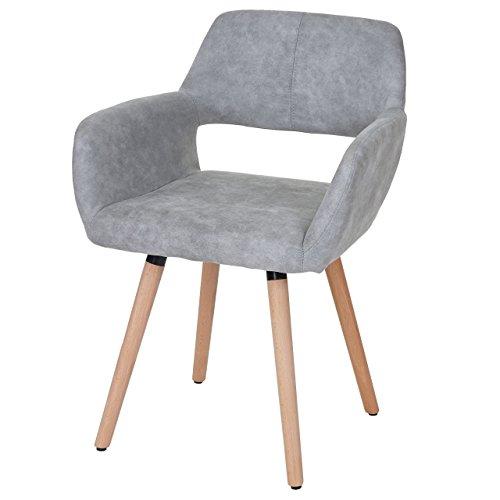 Chaise de salle à manger HWC-A50 II, fauteuil, design rétro des années 50 ~ tissu, gris béton