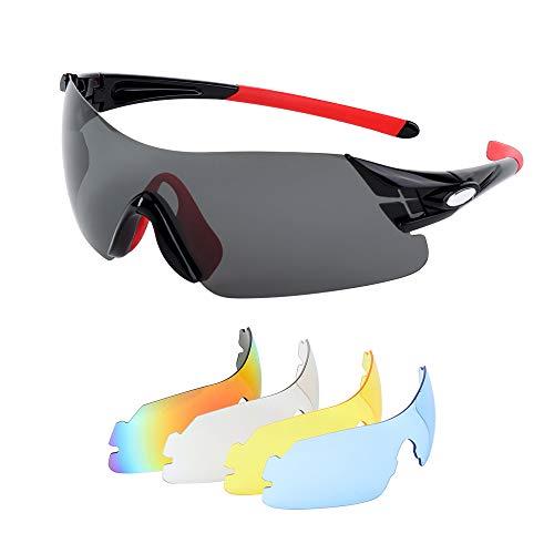 Fahrradbrille Polarisierte Sport Sonnenbrille Sportbrille Radsportbrillen mit 5 Wechselgläser für...