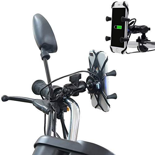SSXZ Handy Ständer, Autotelefon Ständer Motorrad X Form Aluminiumlegierung Telefon Halterung 5v 2.1a Ladegerät