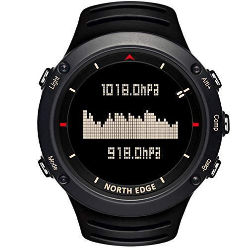 North Edge da uomo militare orologio sportivo digitale luce posteriore LED display orologi casual impermeabile altimetro bussola cronometro sveglia multifunzione orologio da polso, Uomo (Black)