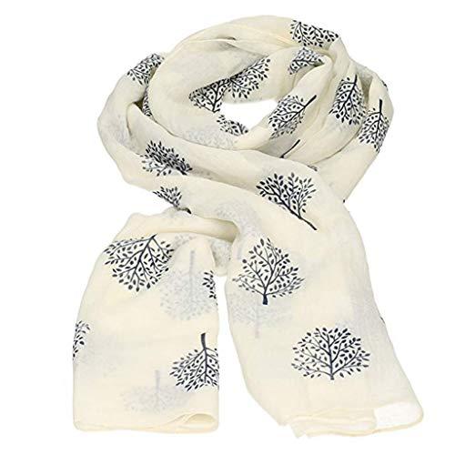 YEBIRAL Klassische Frauen Blätter Drucken Leicht und Weich Wrap Schals Chiffon Kopftuch Damen Tücher Schal (Einheitsgröße,Weiß) -
