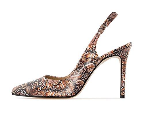 EDEFS Damen Slingback Pumps,High Heel Übergröße Damenschuhe,Schuhe mit Hohen Absätzen Mix-Brown