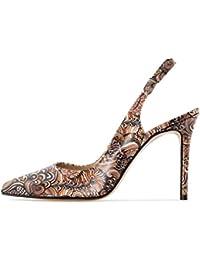 7da289de44c97 Soireelady Femmes Escarpins Lanière Cheville Chaussures Ouvertes à  l arrière 10cm Aiguille