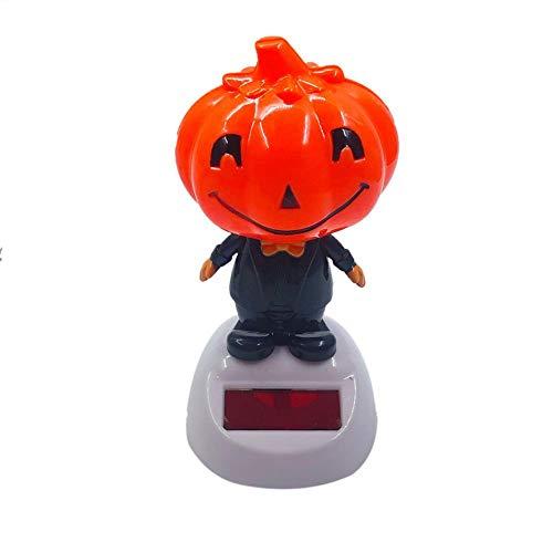 Wovemster Solar Shaking Head Doll, Niedliche Autodekoration, Halloween Pumpkin Shaking Head Doll Autozubehör, Kindergeschenke