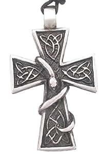 Joaillier Llords Jardin d'Eden, Croix avec serpent enlacé, Collier à pendentif, bijou en pur étain