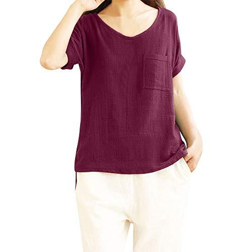 LOPILY Oberteil Bluse Shirt Damen Sommer Lässige Einfarbig Tunika Top mit Taschen Frauen Mode Solide Übergröße Kurzarm Locker Taschen T-Shirt Bluse Hemd Pullover Top(Rot,2XL)