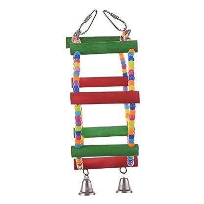 LA VIE Parrot Bird Toy Wooden Rope Cave Aviary Ladder Swings Bells 4