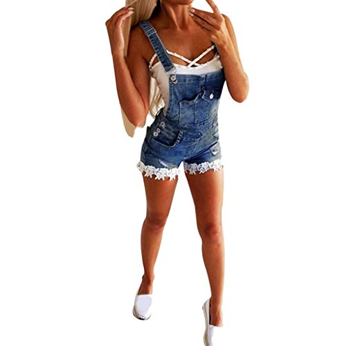 Luckycat Damen Jumpsuit Sommer Overall Damen Breites Bein Hose Denim Latzhose Overall Hosen Damen Kurz Jeanslatzhose Denim Overall Jumpsuit Playsuit Jeans Hosenanzug Romper