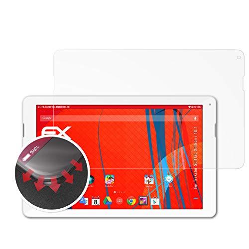 atFolix Schutzfolie passend für Trekstor SurfTab Xintron i 10.1 Folie, entspiegelnde & Flexible FX Bildschirmschutzfolie (2X)