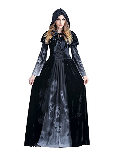 Kostüm Robe Schwarze Hooded - Asskyus Frauen Halloween Hooded Robe Kostüm Hexe Kostüm Kleid Party Cosplay (L, Schwarz)