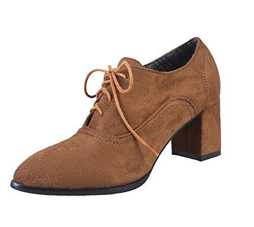 AgeeMi Shoes Donna Allacciare Tacco Medio Punta Chiusa Suede Ballet-Flats Marrone