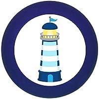 Möbelknopf Möbelgriff Möbelknauf Jungen hellblau dunkelblau blau Massivholz Buche - Kinder Kinderzimmer Leuchtturm gestreift blau weiß maritim -