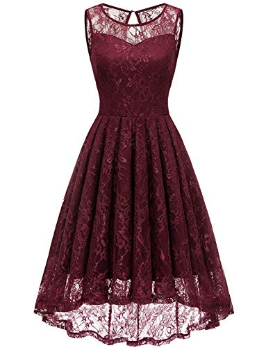 Gardenwed Damen Kleid Retro Ärmellos Kurz Brautjungfern Kleid Spitzenkleid Abendkleider CocktailKleid Partykleid Burgundy 3XL