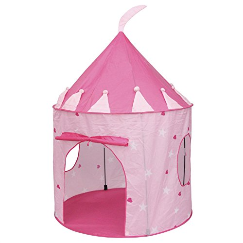 Spielzelt Spielhaus PRINCESS in rosa mit Herzen und Sternen Motiv, Fiberglasstäbe
