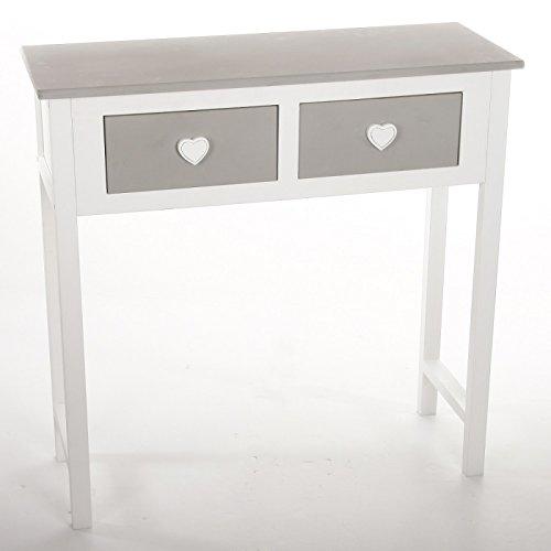 Meuble console table 2 tiroirs design coeur en bois coloris blanc et gris