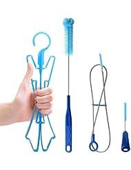Tagvo hidratación Kit de limpieza para Universal depósitos, 4 en 1 Limpiador Set -- Flexible de largo cepillo para manguera, pequeño cepillo para válvula, Big Brush & de la vejiga plegable percha para secado de vejiga