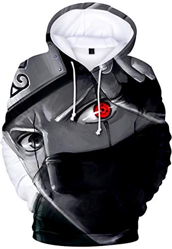 Bettydom Hombre Sudaderas con Capucha Figura Impresa de Naruto Mangas Largas (L, A párpado Rojo-1)