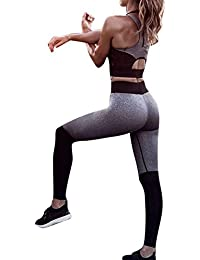 2 Pcs / ensemble Femelle Élasticité Sports Tops + Yoga Jogging Leggings Fitness Formation Costumes Courir Tenues Sportswear Activewear Survêtement Ensemble