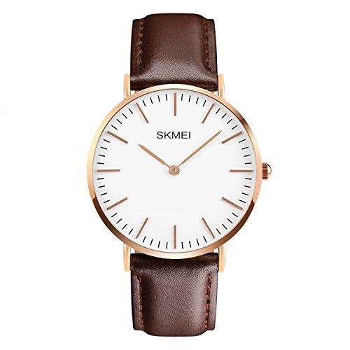 Herren Kleid Armbanduhr Casual Classic Edelstahl Quarz Handgelenk Business analoge Uhr mit 40mm Fall, auswechselbare braun Leder Band und dünn Zifferblatt -