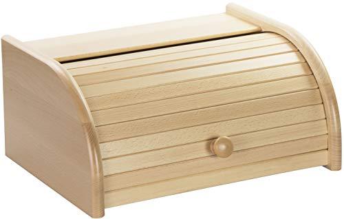 LAUBLUST Brotkasten aus Holz - ca. 40 x 30 x 19 cm, Buche Natur, 100% FSC®   Roll-Deckel & Ablage   Hergestellt in EU