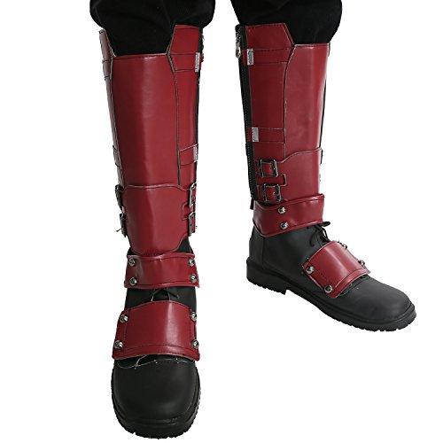 Deadpool Kostüm Schuhe (Xcoser Schuhe Film Shoes Cosplay Kostüm PU Boots Schuhe mit Seite Reißverschluss Knie Hoch Stiefel Covers)