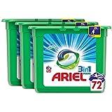 Ariel 3en1 Pods Detergente Cápsulas, Alpine, 72 Lavados (3x24), Limpieza Increíble, Limpia, Quita Manchas, Ilumina