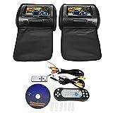 Aramox Appui-tête DVD vidéo, moniteur de lecteur vidéo DVD pour appui-tête 7'avec écran de voiture, avec couvercle à glissière