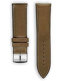 Top con Costuras de piel italiana de calidad: miel–Reloj de repuesto correa para reloj para Samsung Gear S3–Apple reloj inteligente–relojes–conectado relojes–relojes convencionales. Fabricado en Francia