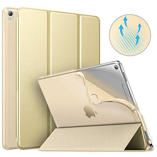 MoKo Schutzhülle Kompatibel mit New iPad Air 3 2019(3rd Generation 10.5 inch)/iPad Pro 10.5 2017, Auto Wake/Sleep Smart Trifold Ständer Transluzente TPU Rückseite Tablet Hülle - Champagne Gold (Klar Ipad Generation 3rd)