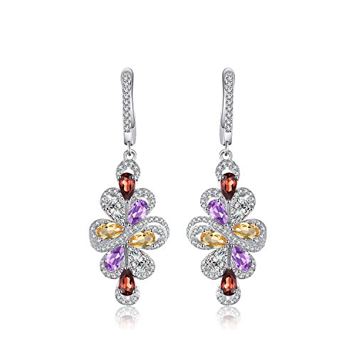 JewelryPalace Luxus 2.9ct Birne Mehrfarbig Genuine Amethyst Granat Citrin Grün Amethyst baumeln Ohrringe 925 Sterling Silber Sterling Silber Amethyst Ohrringe