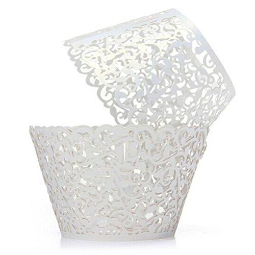 WINOMO Cupcake Förmchen Muffinform Papierförmchen Weiß Filigrane 50 Stück